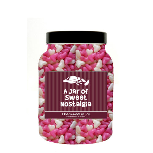A Medium Jar of Jelly Hearts - Small Pink & White Heart Shaped Panned Sweets