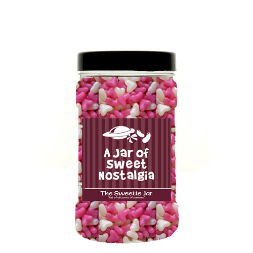 A Small Jar of Jelly Hearts - Small Pink & White Heart Shaped Panned Sweets