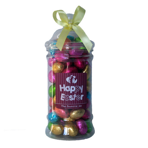 Foiled Eggs Victorian Jar  - Chocolate Flavour Candy Pieces