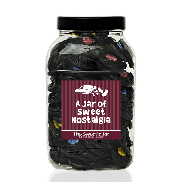 Liquorice Catherine Wheels Large Sweet Jar - Jars of Retro Sweets at The Sweetie Jar