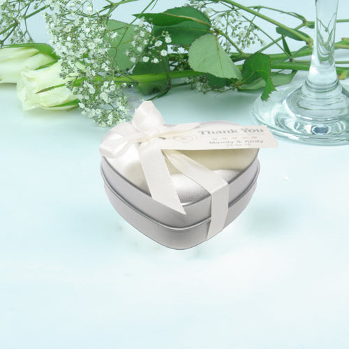 Wedding Favour Heart Shaped Tins with Message Tag