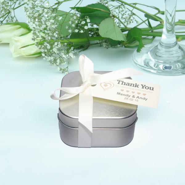 Wedding Favour Square Tins with Message Tag