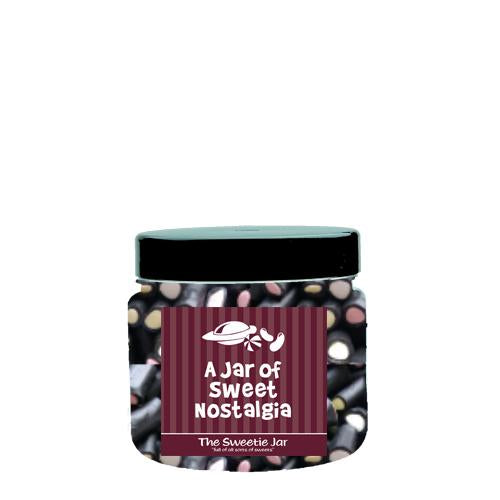 An XSmall Jar of Liquorice Cream Rock - Liquorice Flavoured Sweets with a Fondant Centre