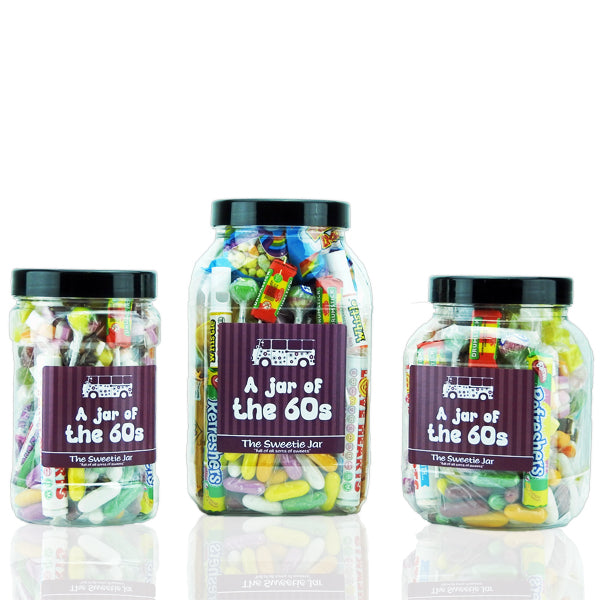 'A Jar of 60s Sweets' Collection - 3 Jars Sizes Full of Retro Sweets you'll remember from the 60s decade