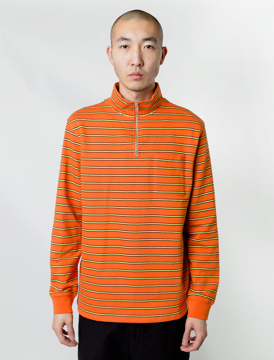 Tres Bien Half-Zip Stripe Sweater Orange/Yellow