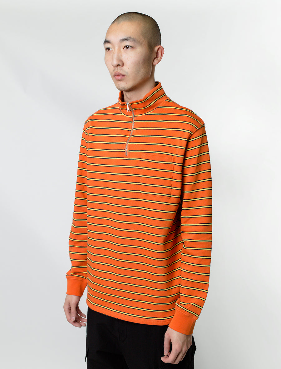 Half-Zip Stripe Sweater Orange/Yellow