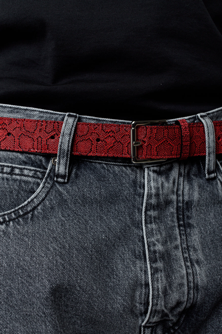 Tres Bien Snake Print Belt Red