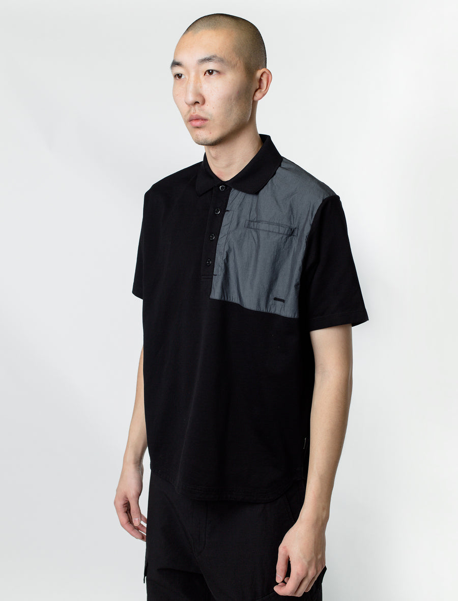 Stone Island Shadow Project Pique Cotton Polo Black