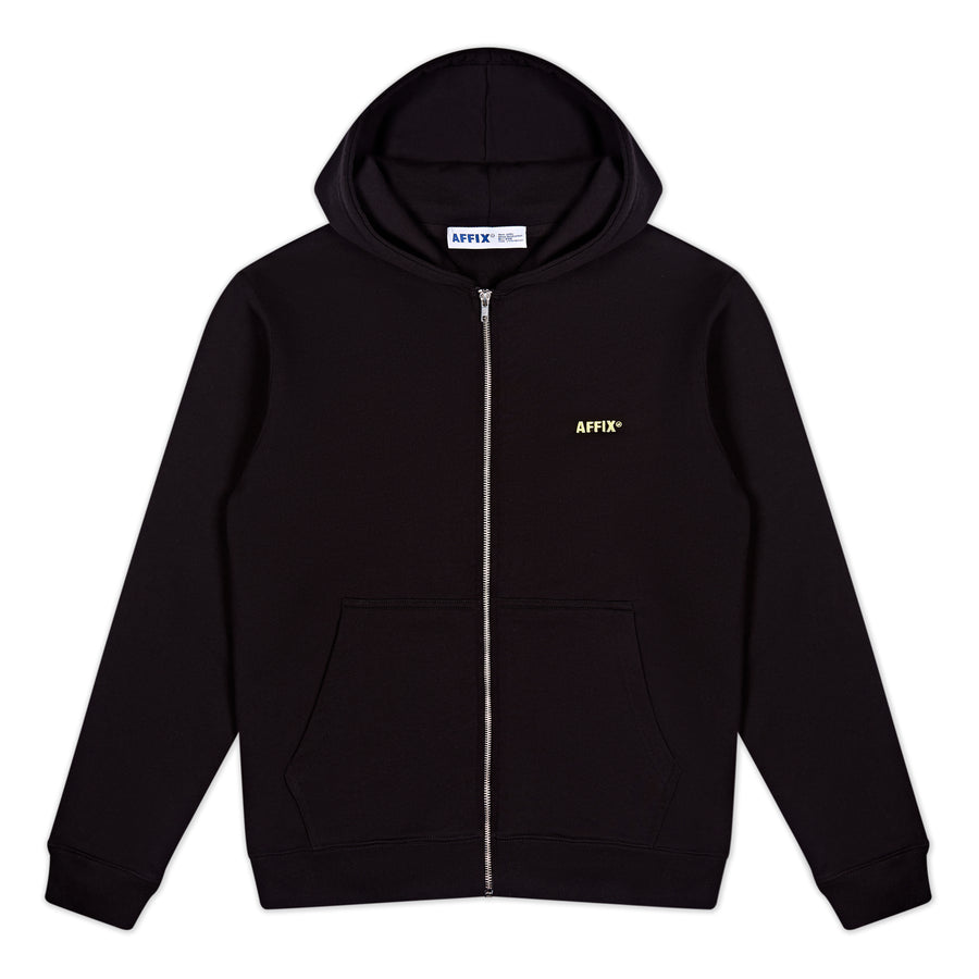 Embroidered Logo Zip Hoodie Black/Yellow