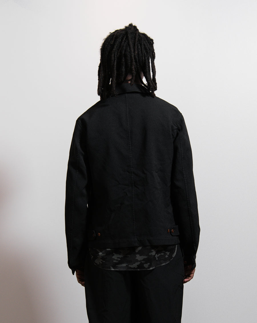 CDG Homme Plus Polyester Serge Garment Treated Zip Jacket Black