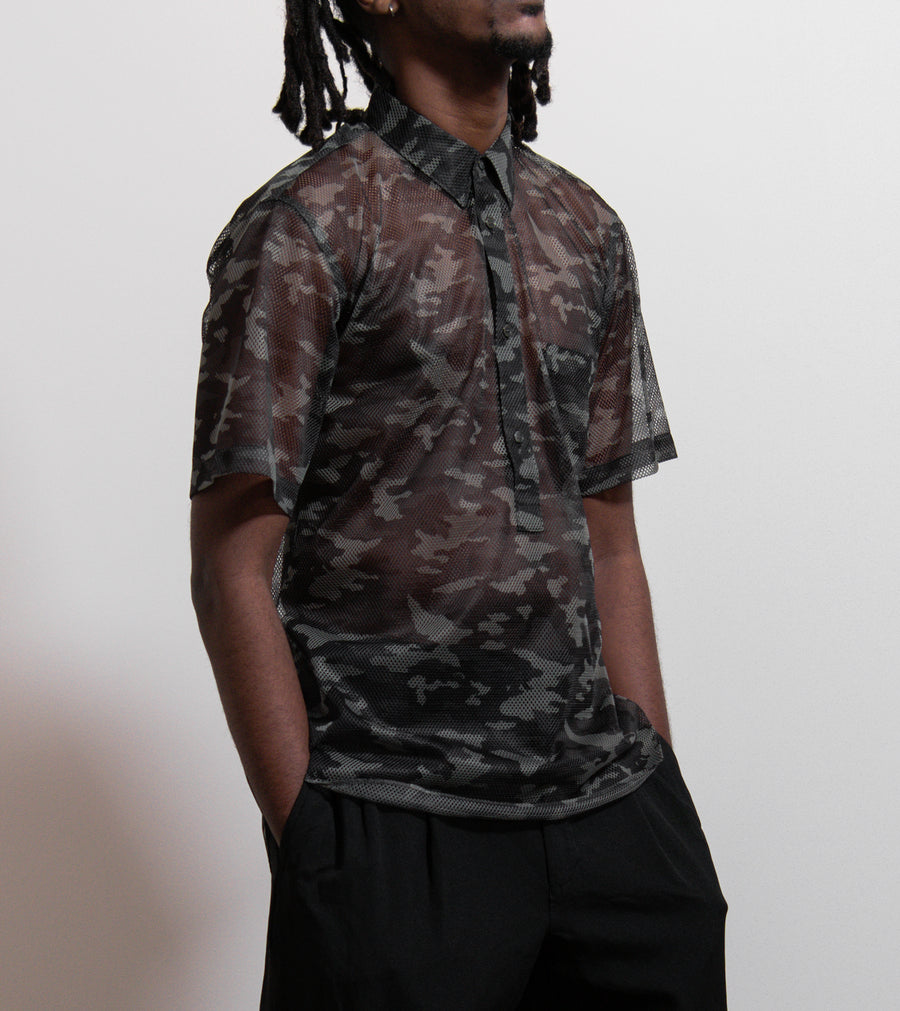 CDG Homme Plus Mesh Camo Polo White/Grey