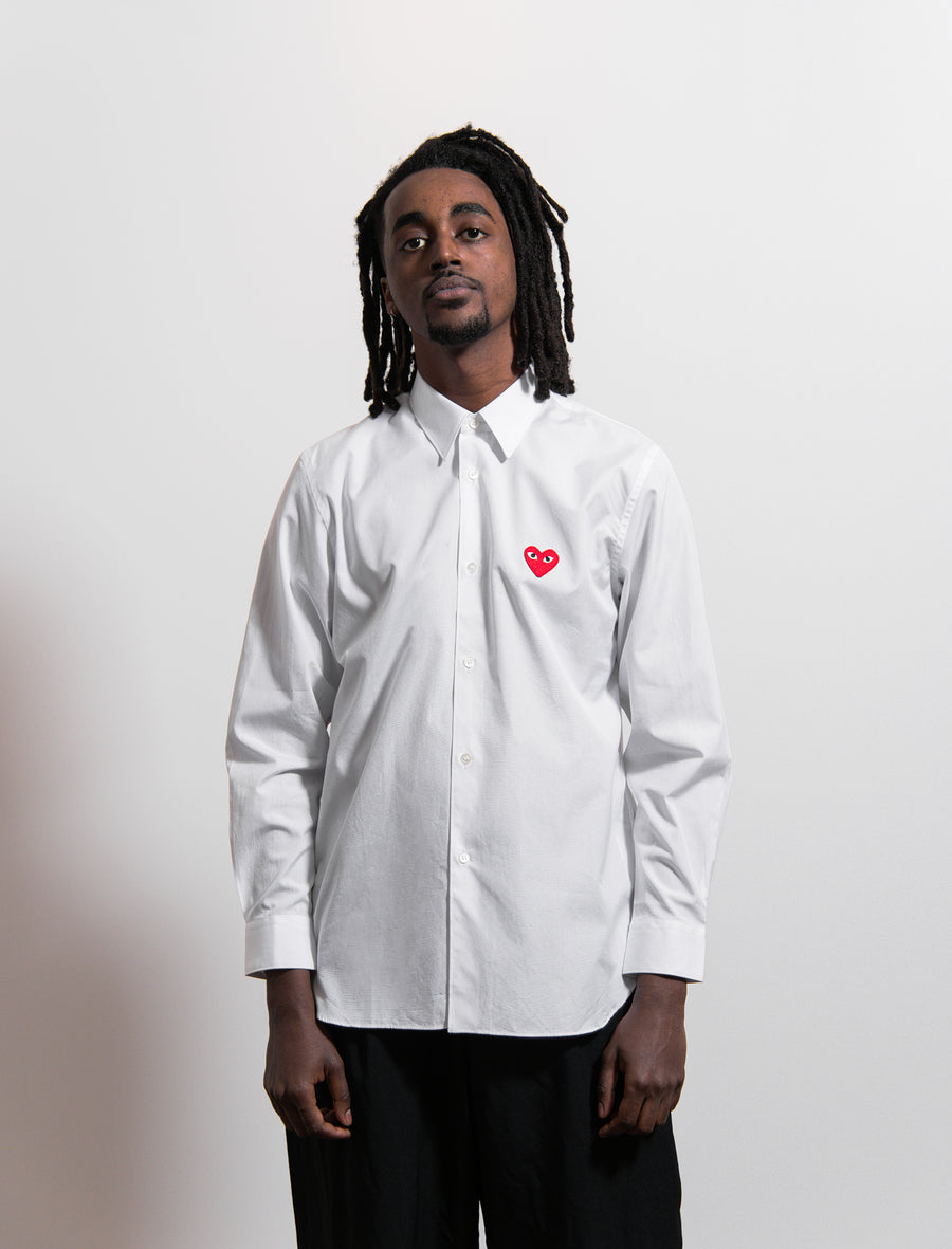 CDG PLAY Emblem Shirt White/Red