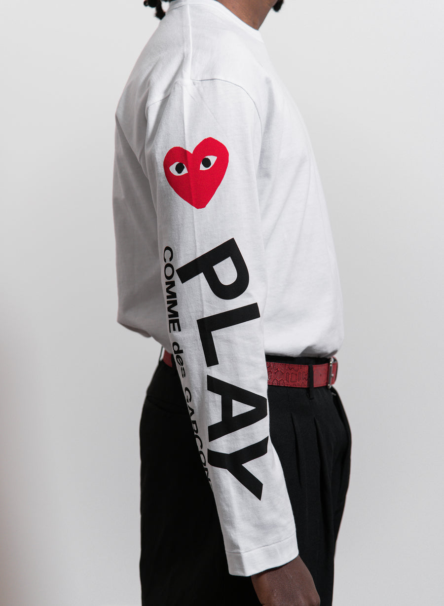 CDG PLAY Long Sleeve Multi Heart Tee White