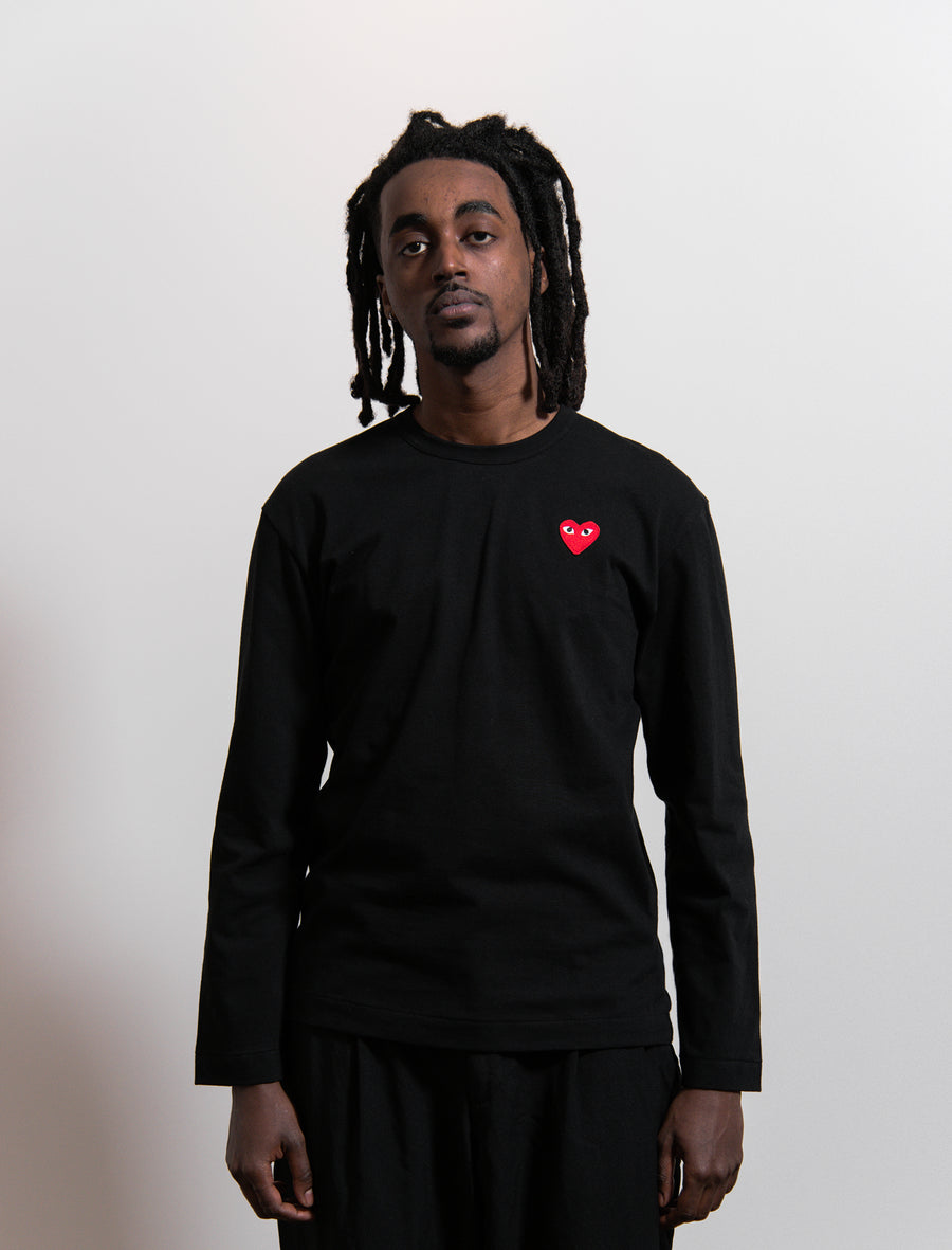 Long Sleeve Emblem Tee Black/Red T118