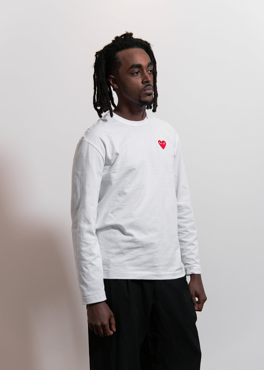 CDG PLAY Long Sleeve Emblem Tee White/Red