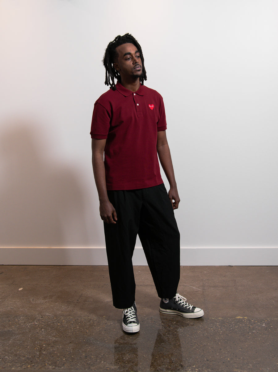 CDG PLAY Polo Shirt Burgundy/Red