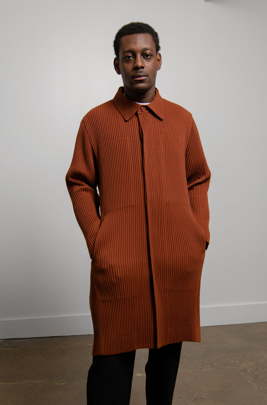 Wool Like Pleated Coat Brown FA006