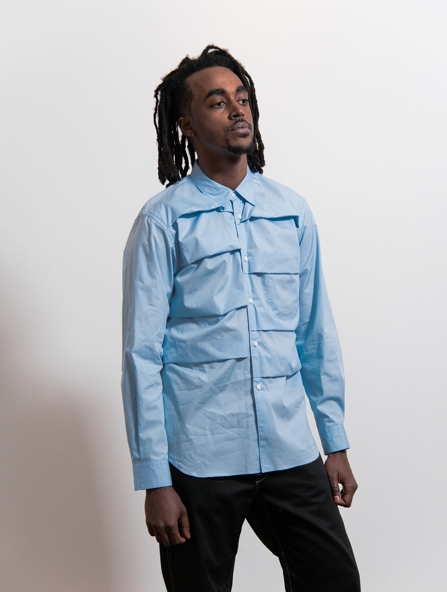CDG Homme Plus Cotton Broad Fold Shirt Blue