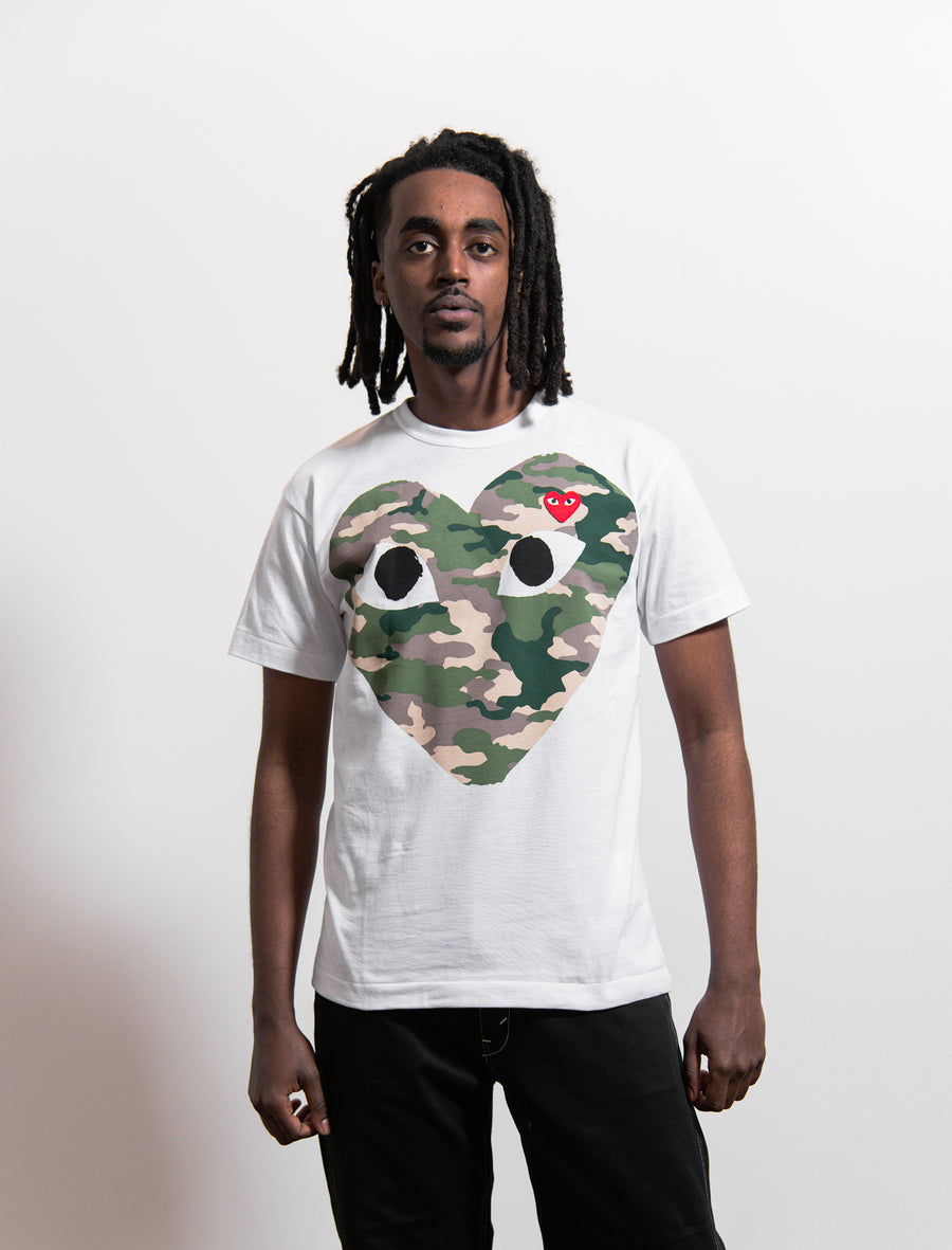 CDG PLAY Camo Chest Print Emblem Tee White