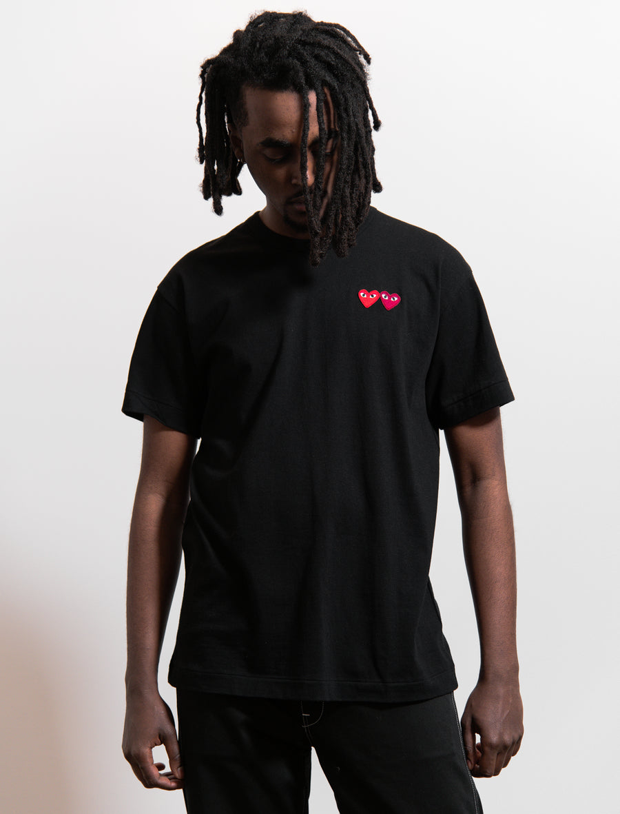 CDG PLAY Short Sleeve Double Emblem Tee Black