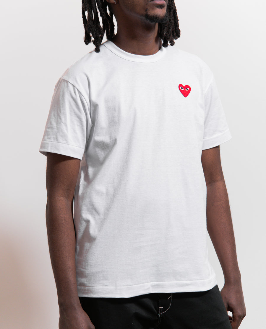 Emblem Tee White/Red
