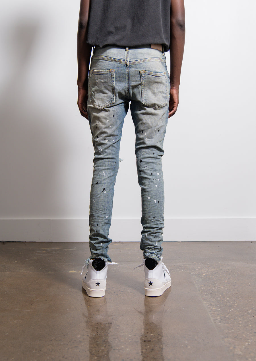 002 Dropped Fit Mid Rise Tapered Jean Indigo Destroy Paint