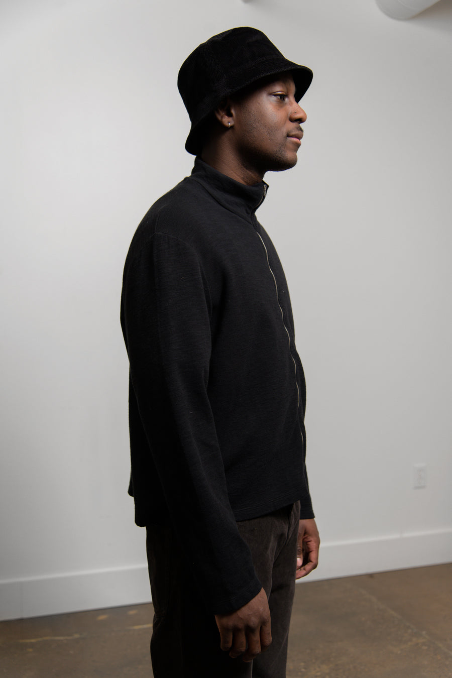 Shrunken Full-Zip Polo Long Sleeve Tee Black