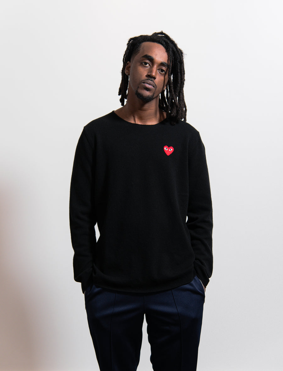 CDG PLAY Knit Emblem Crewneck Sweater Black/Red