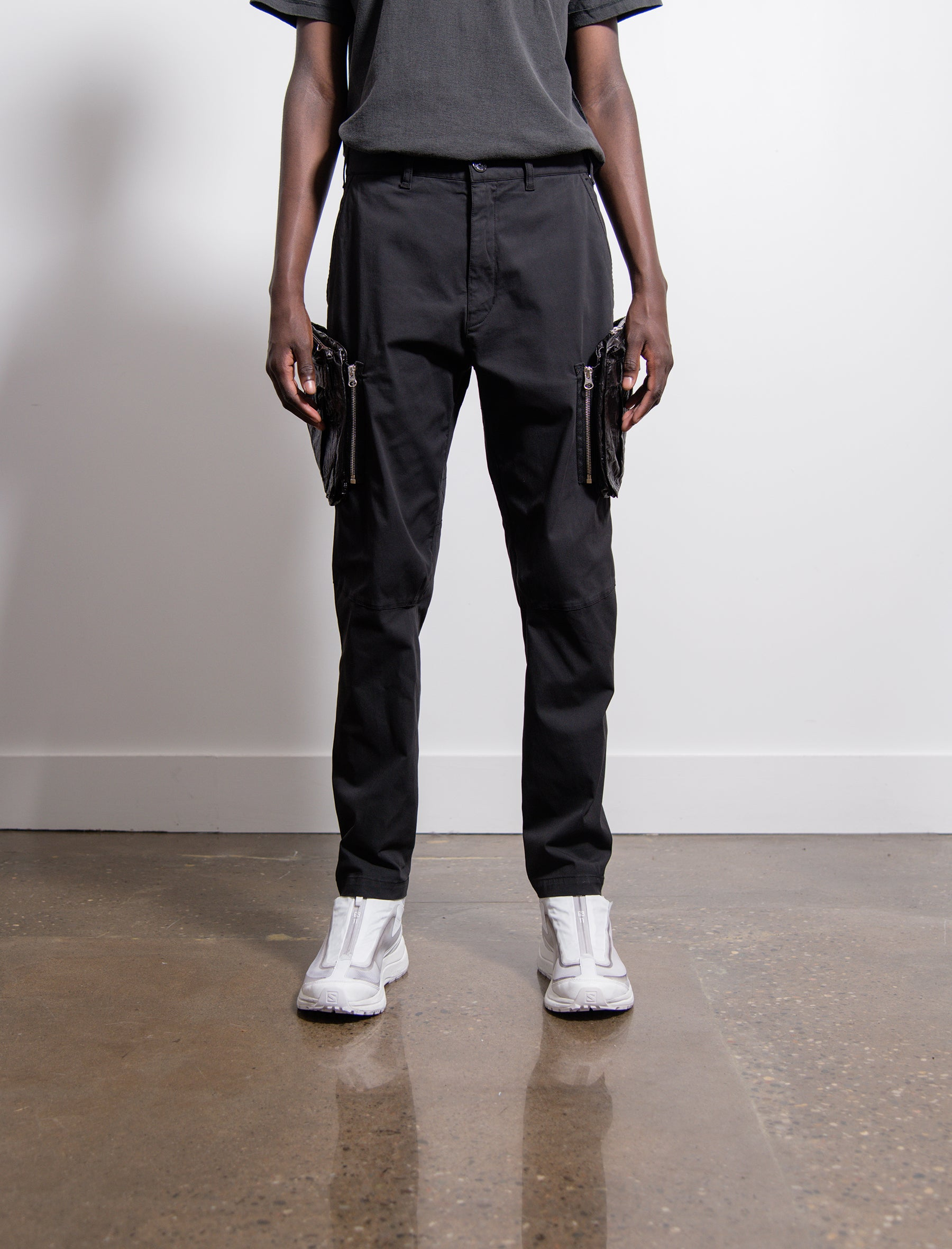 30308 Stretch Enzyme Treated Cargo Pant Black