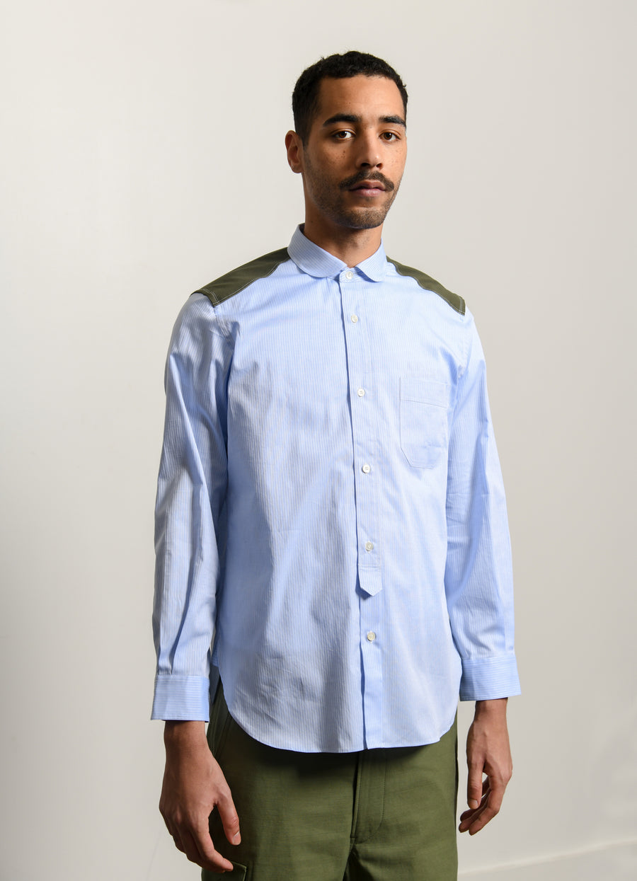Herringbone Twill Peach Shirt Blue/Green B034