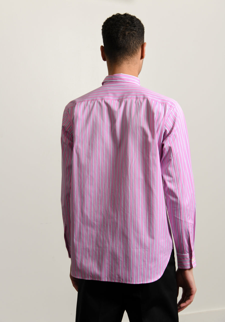 Cotton Broad Stripe Shirt White/Pink B003