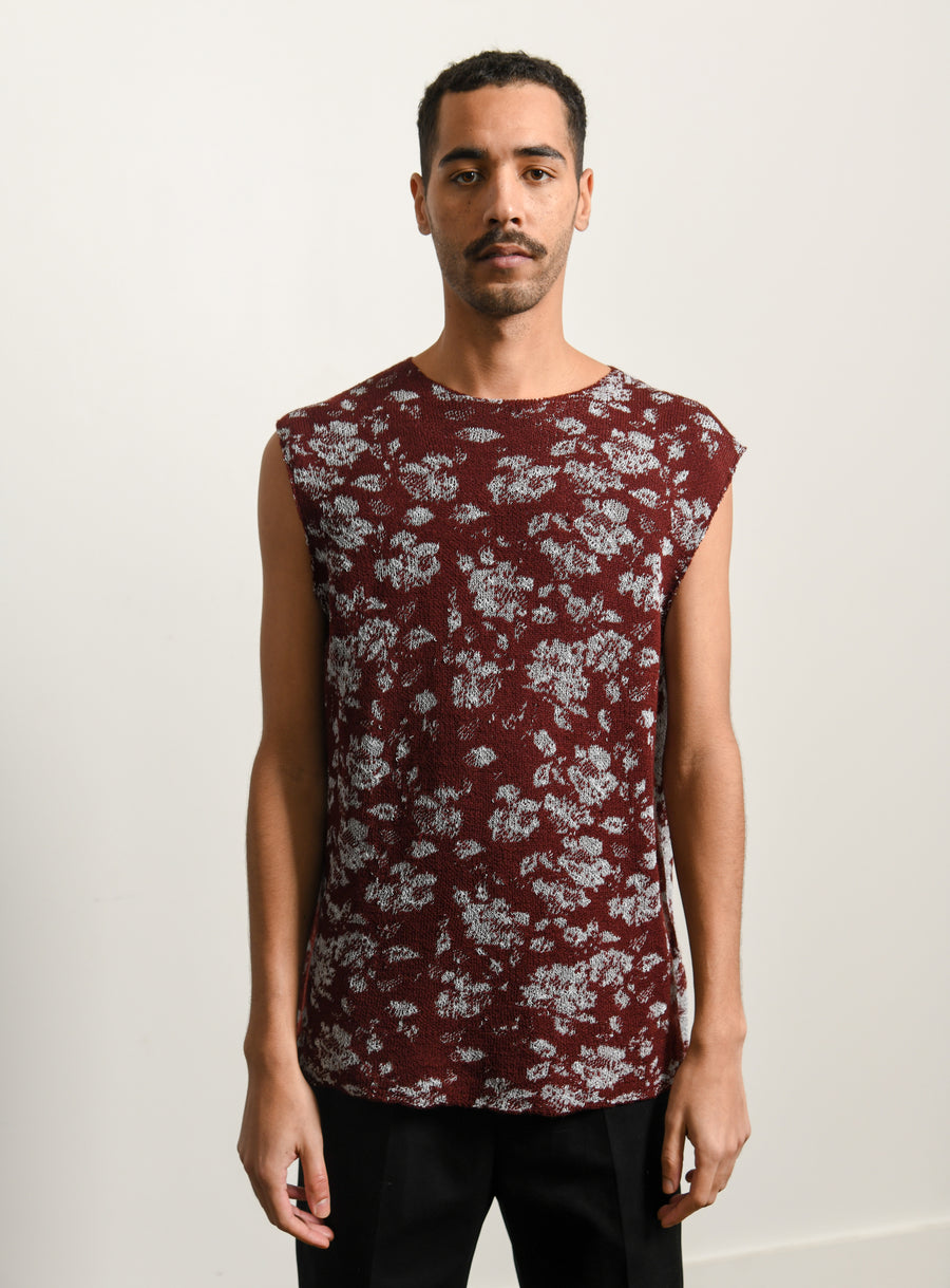 Jacquard Flower Vest Open Red