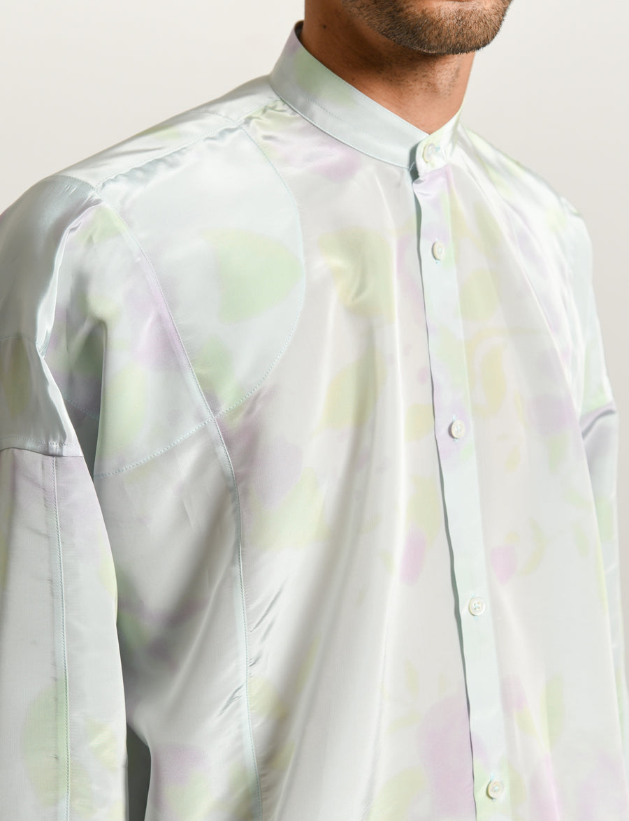Akron Acid Flower Print Shirt Light Blue/Lilac