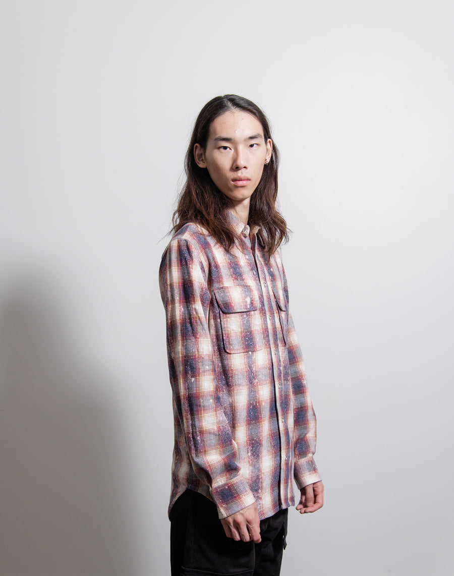 Bleached Plaid Flannel Shirt Red
