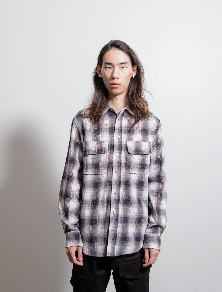 Bleached Plaid Flannel Shirt Grey