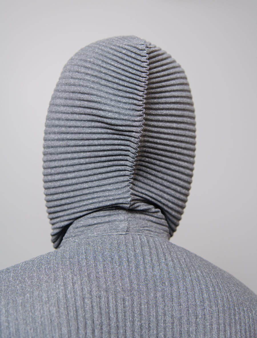 Heather Pleats Hoodie Grey JL143