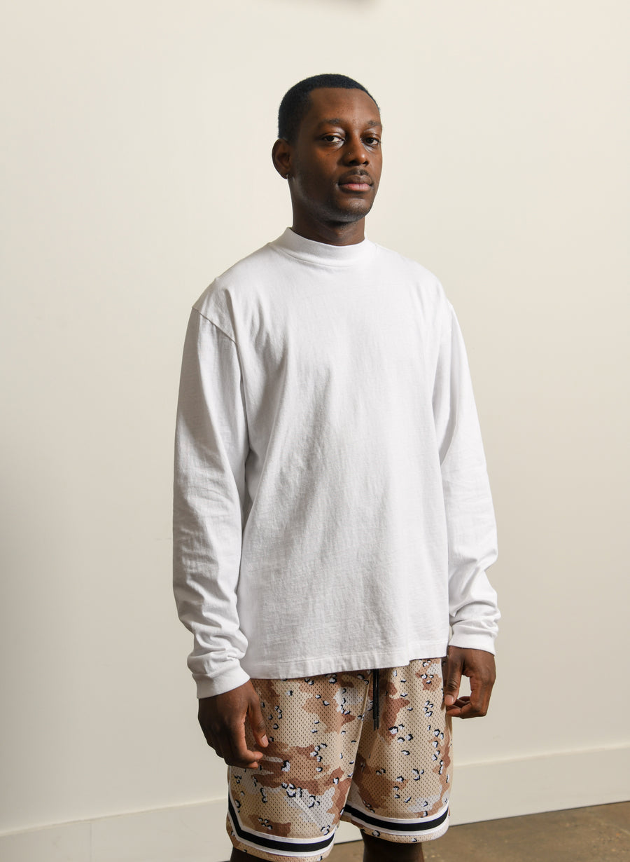900 Mock Neck Long Sleeve Tee White