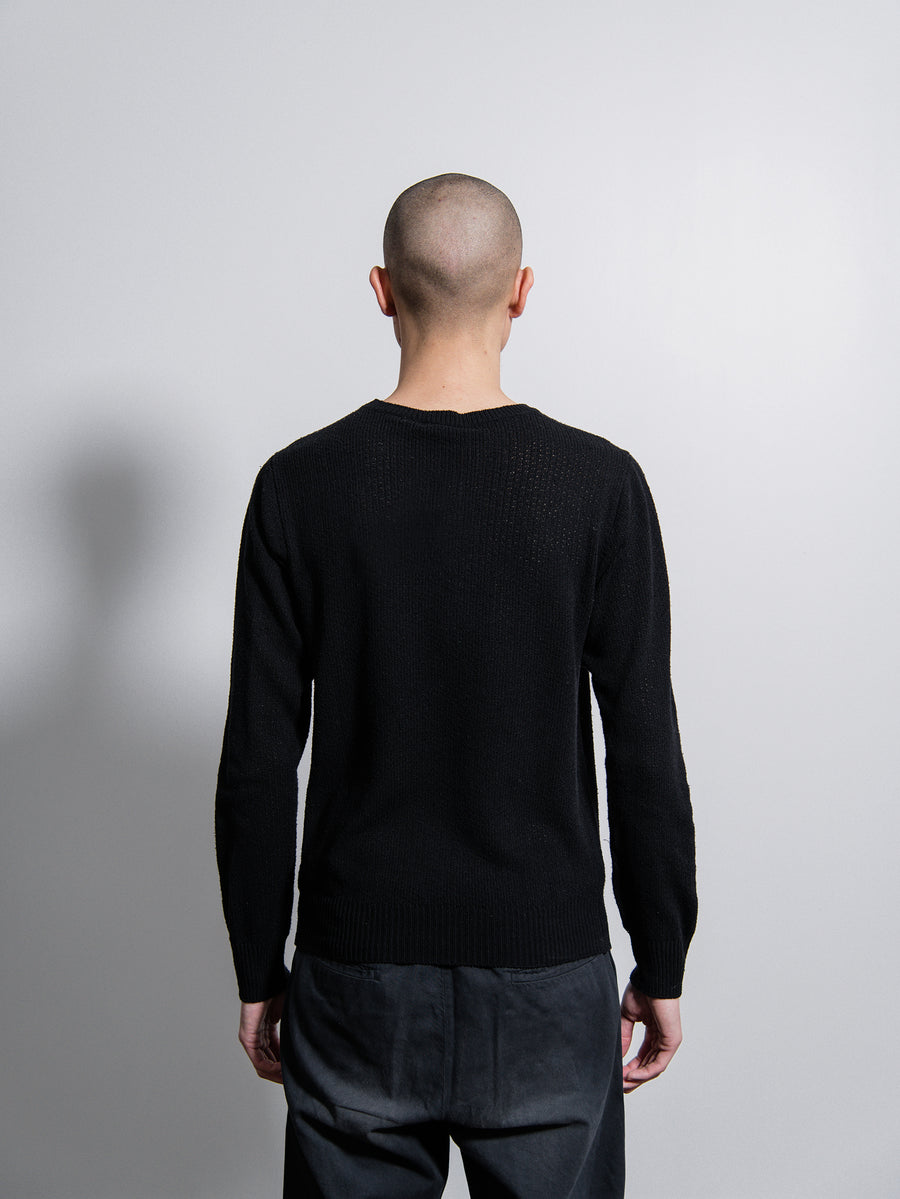 Silk Crewneck Sweater Black