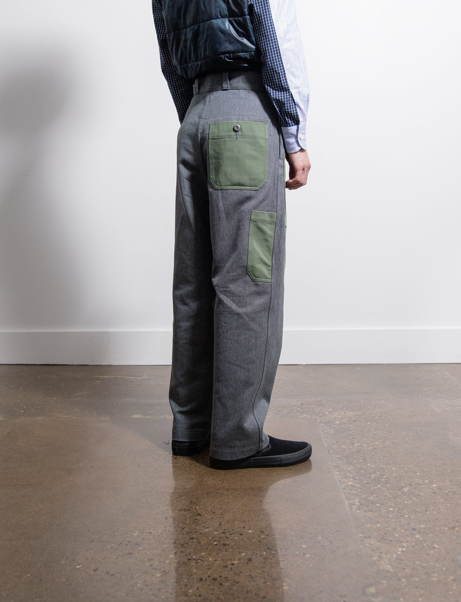 Grandelle Twill Satin Pocket Trouser Olive/Black