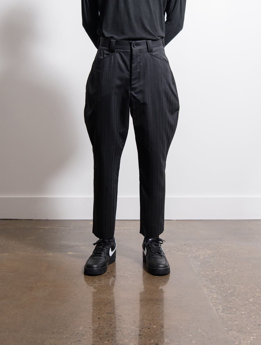 Wool Dobby Shadow Stripe Trouser Black