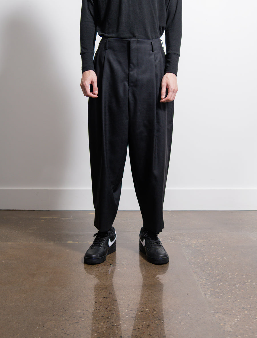 Wool Shadow Check Trouser Black