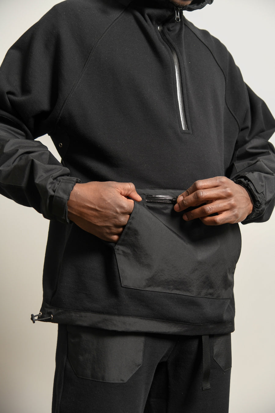 Waterproof Terry Anorak Black