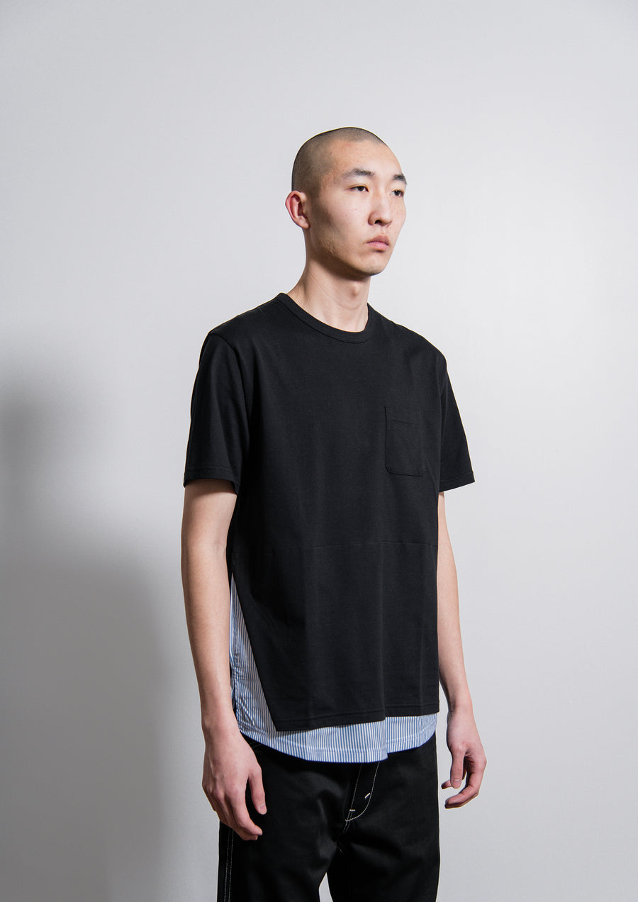 Short Sleeve Layered Tee Black/Blue Stripe