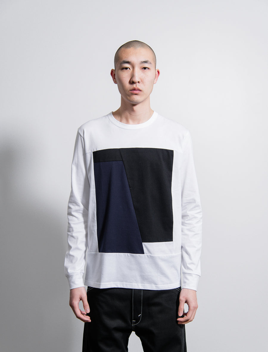 Long Sleeve Tee White/Navy/Black