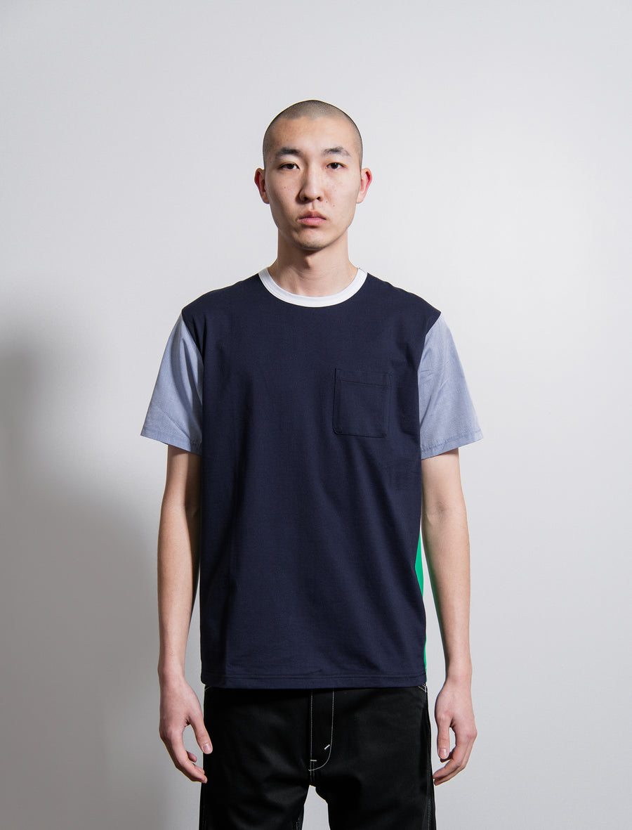 Short Sleeve Tee Navy/Green/Light Blue/Grey