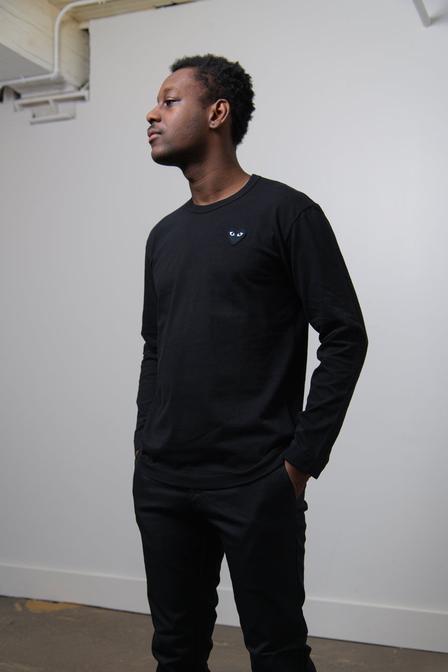 Long Sleeve Emblem Tee Black/Black T120