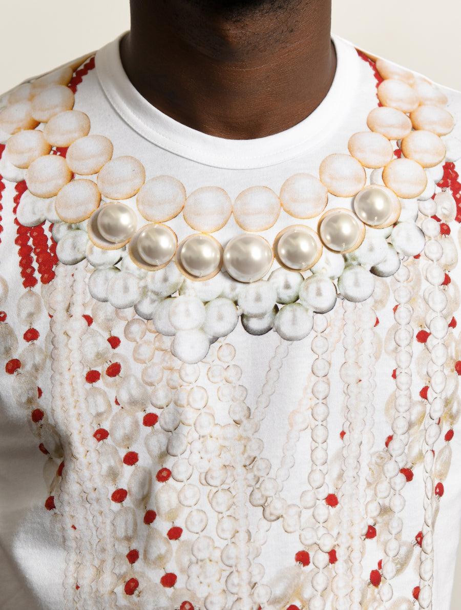 Pearl Bead Embroidered Tee White