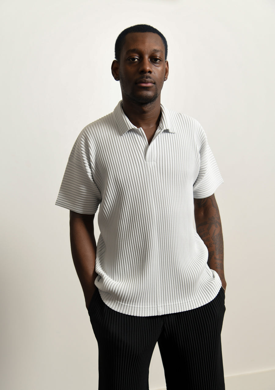 MC April Pleated Polo Tee Platinum Grey JM121