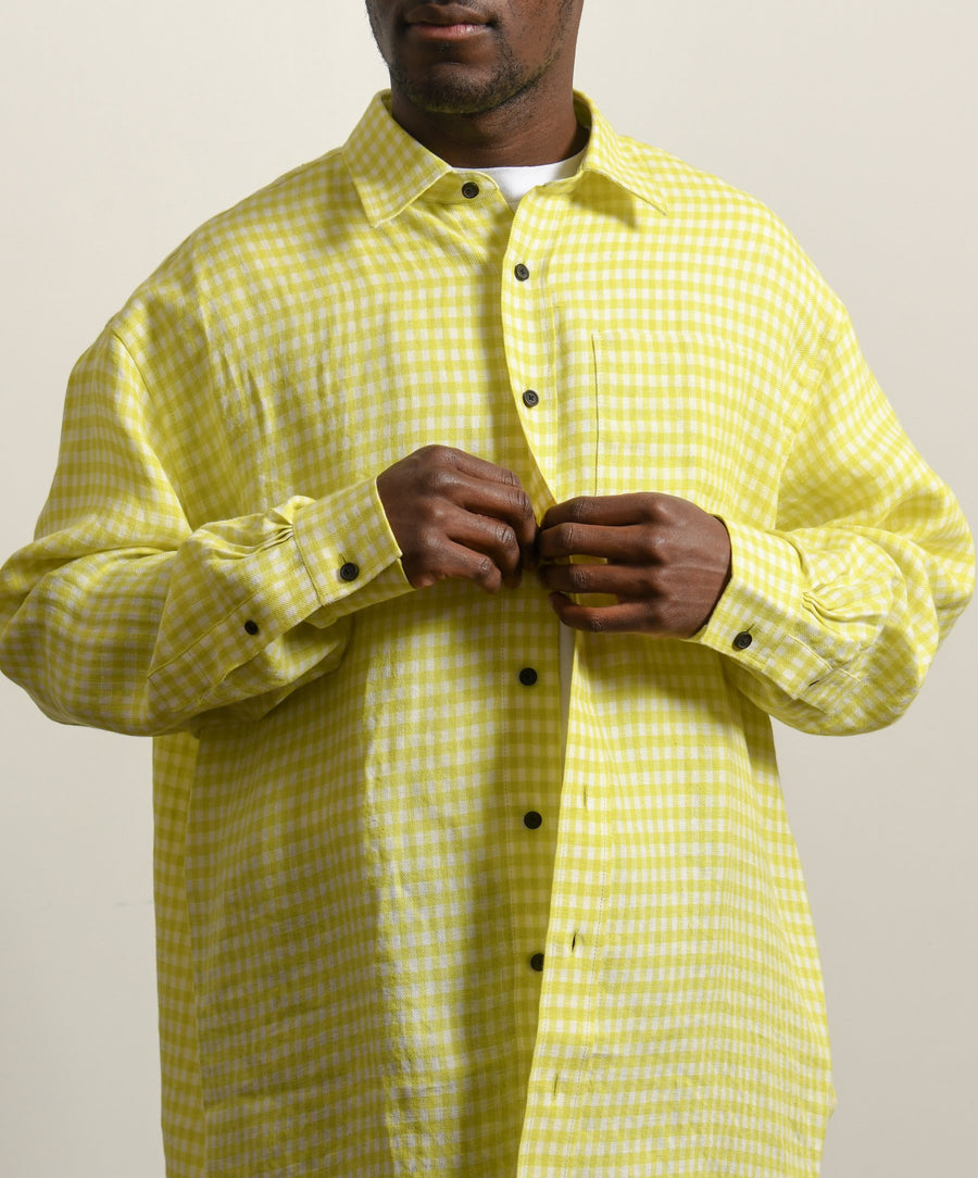 Linen Checkered Shirt Yellow/White SHIR000170