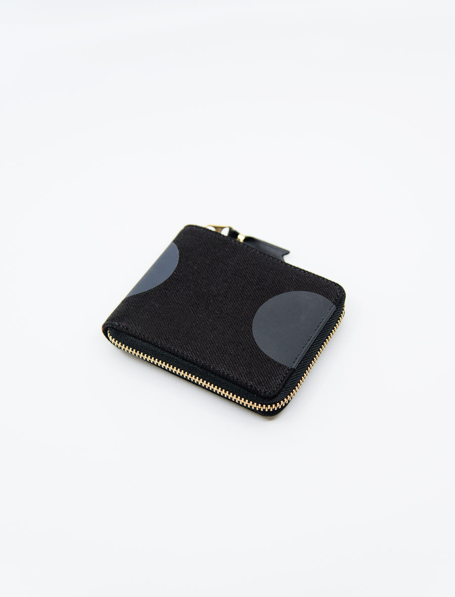 3-Sided Zip Rubber Dot Wallet Black